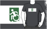 Accessible Exit Sign Project Wheelchair Wheelie Running Man Symbol Means of Egress Icon Disability Emergency Evacuation Fire Safety Adult t-shirt 37