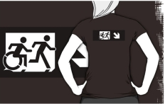 Accessible Exit Sign Project Wheelchair Wheelie Running Man Symbol Means of Egress Icon Disability Emergency Evacuation Fire Safety Adult T-shirt 372