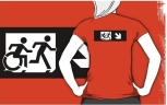 Accessible Exit Sign Project Wheelchair Wheelie Running Man Symbol Means of Egress Icon Disability Emergency Evacuation Fire Safety Adult T-shirt 375
