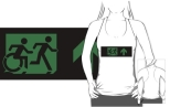 Accessible Exit Sign Project Wheelchair Wheelie Running Man Symbol Means of Egress Icon Disability Emergency Evacuation Fire Safety Adult T-shirt 376