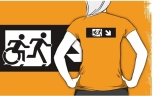 Accessible Exit Sign Project Wheelchair Wheelie Running Man Symbol Means of Egress Icon Disability Emergency Evacuation Fire Safety Adult T-shirt 378