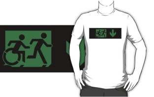 Accessible Exit Sign Project Wheelchair Wheelie Running Man Symbol Means of Egress Icon Disability Emergency Evacuation Fire Safety Adult T-shirt 38