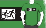 Accessible Exit Sign Project Wheelchair Wheelie Running Man Symbol Means of Egress Icon Disability Emergency Evacuation Fire Safety Adult T-shirt 380