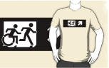 Accessible Exit Sign Project Wheelchair Wheelie Running Man Symbol Means of Egress Icon Disability Emergency Evacuation Fire Safety Adult T-shirt 381