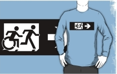 Accessible Exit Sign Project Wheelchair Wheelie Running Man Symbol Means of Egress Icon Disability Emergency Evacuation Fire Safety Adult T-shirt 382