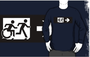 Accessible Exit Sign Project Wheelchair Wheelie Running Man Symbol Means of Egress Icon Disability Emergency Evacuation Fire Safety Adult T-shirt 383