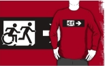 Accessible Exit Sign Project Wheelchair Wheelie Running Man Symbol Means of Egress Icon Disability Emergency Evacuation Fire Safety Adult T-shirt 384