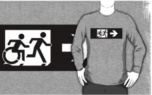 Accessible Exit Sign Project Wheelchair Wheelie Running Man Symbol Means of Egress Icon Disability Emergency Evacuation Fire Safety Adult T-shirt 385