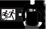 Accessible Exit Sign Project Wheelchair Wheelie Running Man Symbol Means of Egress Icon Disability Emergency Evacuation Fire Safety Adult T-shirt 386