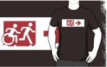 Accessible Exit Sign Project Wheelchair Wheelie Running Man Symbol Means of Egress Icon Disability Emergency Evacuation Fire Safety Adult T-shirt 389