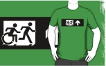 Accessible Exit Sign Project Wheelchair Wheelie Running Man Symbol Means of Egress Icon Disability Emergency Evacuation Fire Safety Adult T-shirt 390