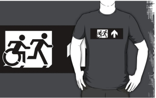 Accessible Exit Sign Project Wheelchair Wheelie Running Man Symbol Means of Egress Icon Disability Emergency Evacuation Fire Safety Adult T-shirt 391
