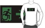 Accessible Exit Sign Project Wheelchair Wheelie Running Man Symbol Means of Egress Icon Disability Emergency Evacuation Fire Safety Adult t-shirt 39