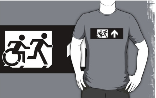 Accessible Exit Sign Project Wheelchair Wheelie Running Man Symbol Means of Egress Icon Disability Emergency Evacuation Fire Safety Adult T-shirt 392
