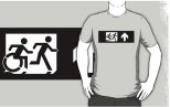 Accessible Exit Sign Project Wheelchair Wheelie Running Man Symbol Means of Egress Icon Disability Emergency Evacuation Fire Safety Adult T-shirt 393