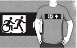Accessible Exit Sign Project Wheelchair Wheelie Running Man Symbol Means of Egress Icon Disability Emergency Evacuation Fire Safety Adult T-shirt 394