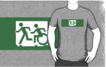 Accessible Exit Sign Project Wheelchair Wheelie Running Man Symbol Means of Egress Icon Disability Emergency Evacuation Fire Safety Adult T-shirt 395