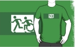 Accessible Exit Sign Project Wheelchair Wheelie Running Man Symbol Means of Egress Icon Disability Emergency Evacuation Fire Safety Adult T-shirt 397