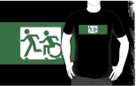 Accessible Exit Sign Project Wheelchair Wheelie Running Man Symbol Means of Egress Icon Disability Emergency Evacuation Fire Safety Adult T-shirt 398