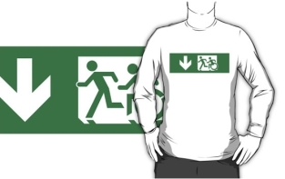 Accessible Exit Sign Project Wheelchair Wheelie Running Man Symbol Means of Egress Icon Disability Emergency Evacuation Fire Safety Adult T-shirt 399