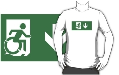 Accessible Exit Sign Project Wheelchair Wheelie Running Man Symbol Means of Egress Icon Disability Emergency Evacuation Fire Safety Adult t-shirt 4