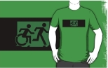 Accessible Exit Sign Project Wheelchair Wheelie Running Man Symbol Means of Egress Icon Disability Emergency Evacuation Fire Safety Adult T-shirt 40