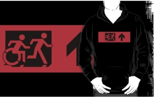 Accessible Exit Sign Project Wheelchair Wheelie Running Man Symbol Means of Egress Icon Disability Emergency Evacuation Fire Safety Adult T-shirt 400