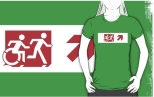 Accessible Exit Sign Project Wheelchair Wheelie Running Man Symbol Means of Egress Icon Disability Emergency Evacuation Fire Safety Adult T-shirt 401