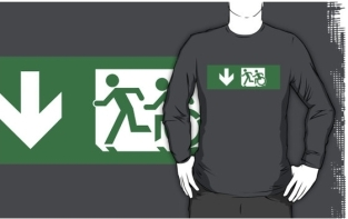 Accessible Exit Sign Project Wheelchair Wheelie Running Man Symbol Means of Egress Icon Disability Emergency Evacuation Fire Safety Adult T-shirt 402