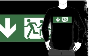 Accessible Exit Sign Project Wheelchair Wheelie Running Man Symbol Means of Egress Icon Disability Emergency Evacuation Fire Safety Adult T-shirt 403