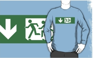 Accessible Exit Sign Project Wheelchair Wheelie Running Man Symbol Means of Egress Icon Disability Emergency Evacuation Fire Safety Adult T-shirt 404