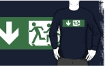 Accessible Exit Sign Project Wheelchair Wheelie Running Man Symbol Means of Egress Icon Disability Emergency Evacuation Fire Safety Adult T-shirt 405
