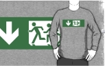 Accessible Exit Sign Project Wheelchair Wheelie Running Man Symbol Means of Egress Icon Disability Emergency Evacuation Fire Safety Adult T-shirt 406