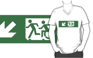 Accessible Exit Sign Project Wheelchair Wheelie Running Man Symbol Means of Egress Icon Disability Emergency Evacuation Fire Safety Adult T-shirt 407