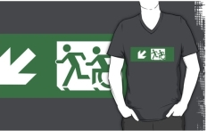 Accessible Exit Sign Project Wheelchair Wheelie Running Man Symbol Means of Egress Icon Disability Emergency Evacuation Fire Safety Adult T-shirt 408