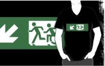 Accessible Exit Sign Project Wheelchair Wheelie Running Man Symbol Means of Egress Icon Disability Emergency Evacuation Fire Safety Adult T-shirt 409