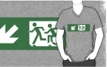 Accessible Exit Sign Project Wheelchair Wheelie Running Man Symbol Means of Egress Icon Disability Emergency Evacuation Fire Safety Adult T-shirt 411