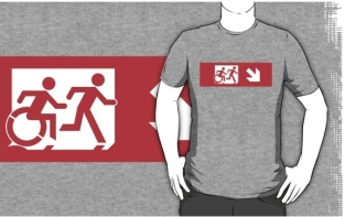 Accessible Exit Sign Project Wheelchair Wheelie Running Man Symbol Means of Egress Icon Disability Emergency Evacuation Fire Safety Adult T-shirt 412