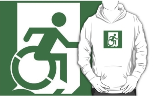 Accessible Exit Sign Project Wheelchair Wheelie Running Man Symbol Means of Egress Icon Disability Emergency Evacuation Fire Safety Adult T-shirt 413