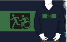 Accessible Exit Sign Project Wheelchair Wheelie Running Man Symbol Means of Egress Icon Disability Emergency Evacuation Fire Safety Adult T-shirt 414