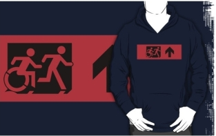 Accessible Exit Sign Project Wheelchair Wheelie Running Man Symbol Means of Egress Icon Disability Emergency Evacuation Fire Safety Adult T-shirt 416