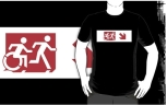 Accessible Exit Sign Project Wheelchair Wheelie Running Man Symbol Means of Egress Icon Disability Emergency Evacuation Fire Safety Adult T-shirt 417