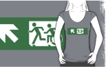 Accessible Exit Sign Project Wheelchair Wheelie Running Man Symbol Means of Egress Icon Disability Emergency Evacuation Fire Safety Adult T-shirt 419