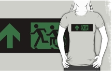Accessible Exit Sign Project Wheelchair Wheelie Running Man Symbol Means of Egress Icon Disability Emergency Evacuation Fire Safety Adult T-shirt 42