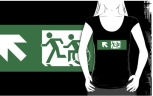 Accessible Exit Sign Project Wheelchair Wheelie Running Man Symbol Means of Egress Icon Disability Emergency Evacuation Fire Safety Adult T-shirt 420