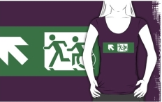 Accessible Exit Sign Project Wheelchair Wheelie Running Man Symbol Means of Egress Icon Disability Emergency Evacuation Fire Safety Adult T-shirt 421