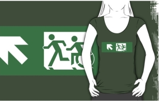 Accessible Exit Sign Project Wheelchair Wheelie Running Man Symbol Means of Egress Icon Disability Emergency Evacuation Fire Safety Adult T-shirt 422