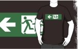 Accessible Exit Sign Project Wheelchair Wheelie Running Man Symbol Means of Egress Icon Disability Emergency Evacuation Fire Safety Adult T-shirt 423