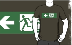 Accessible Exit Sign Project Wheelchair Wheelie Running Man Symbol Means of Egress Icon Disability Emergency Evacuation Fire Safety Adult T-shirt 424