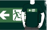 Accessible Exit Sign Project Wheelchair Wheelie Running Man Symbol Means of Egress Icon Disability Emergency Evacuation Fire Safety Adult T-shirt 425